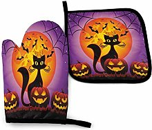 Eliuji Halloween Black Cat Oven Mitts and Pot