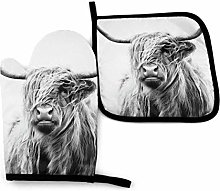 Eliuji Highland Cow Half Face Portrait Oven Mitts