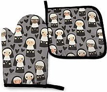 Eliuji Nuns On Gray Heart, Oven Mitts and Pot