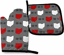 Eliuji Oh-Io State Gray, Oven Mitts and Pot