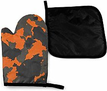 Eliuji Orange Camouflage Abstract Oven Mitts and