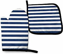 Eliuji Oven Mitts and Pot Holders, Navy Blue and