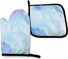 Eliuji Oven Mitts and Pot Holders Set Blue