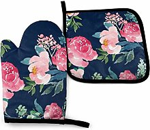 Eliuji Oven Mitts and Pot Holders Set Navy Pink