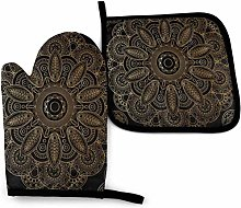 Eliuji Oven Mitts and Pot Holders Sets Gold