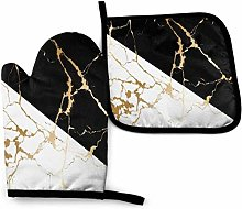 Eliuji Oven Mitts and Pot Holders Sets Gold Marble
