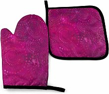 Eliuji Oven Mitts and Pot Holders Sets Hot Pink
