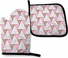 Eliuji Oven Mitts and Pot Holders Sets Marble Rose
