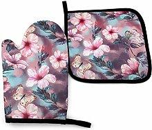 Eliuji Pink Hibiscus Flowers and Butterflies Oven