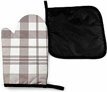 Eliuji Plaid Check Grey Taupe White Oven Mitts and