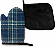 Eliuji Plaid Navy Oven Mitts and Pot Holders Sets