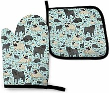 Eliuji Pug Life Oven Mitts and Pot Holders Sets