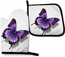 Eliuji Purple Butterfly Oven Mitts and Pot Holders