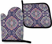 Eliuji Purple Damask Pattern Oven Mitts and Pot