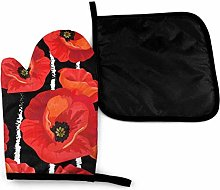 Eliuji Red Poppies On Striped Black White Floral