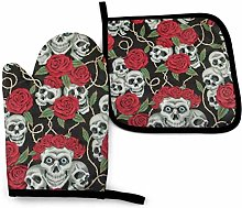 Eliuji Skull and Red Rose Oven Mitts and Pot