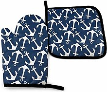 Eliuji White Anchor in Navy, Oven Mitts and Pot