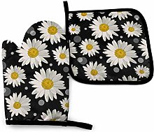 Eliuji White Daisies and Circles On Black Oven