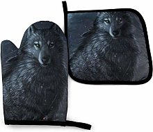 Eliuji Wolf in Dark, Oven Mitts and Pot Holders