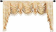 ELKCA Golden Jacquard Swag Waterfall Valance for