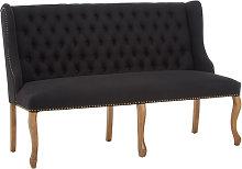 Elkurud Linen 2 Seater Sofa In Black