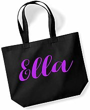 Ella Personalised Shopping Tote in Black Colour