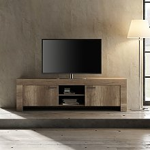 Ellie Wooden TV Stand Wide In Canyon Oak With 2