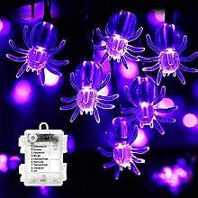 Ellxen Halloween Purple Spider Lights,50 LED