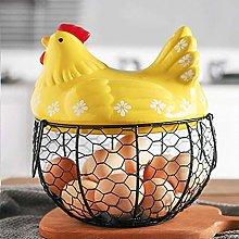 Ellyeall Egg Holder Metal Basket Double Handle
