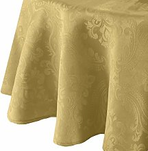 Elrene Damask Tablecloth, Polyester, Gold, 70