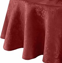 Elrene Damask Tablecloth, Polyester, Red, 60""