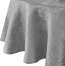 Elrene Damask Tablecloth, Polyester, Silver,