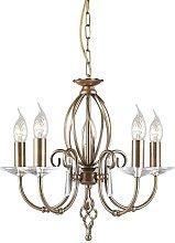 Elstead Aegean - 5 Light Chandelier Aged Brass