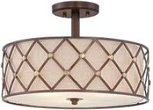 Elstead Brown Lattice - 3 Light Semi Flush Ceiling
