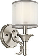 Elstead Lacey 1 Light Wall Light, Antique Pewter,