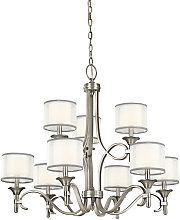Elstead Lacey 9 Light Chandelier, Antique Pewter,