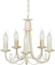 Elstead Minster - 5 Light Chandelier Ivory, Gold