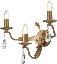 Elstead Windsor - 3 Light Candle Wall Light - Gold