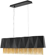 Elstead Zuma 6 Light Pendant, Satin Black, Gold,