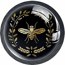 Embroidered Bee Cabinet Dresser Knobs 4 Pcs Drawer