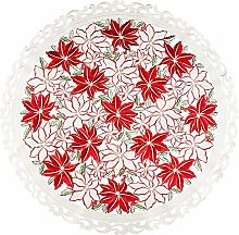 Embroidered Christmas Holiday Large Poinsettia