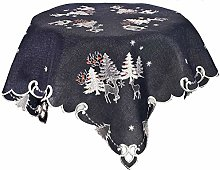 Embroidered Christmas Holiday Silver Reindeer and