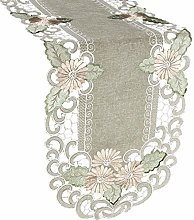Embroidered Gold Daisy Fleur Latte Linen Table