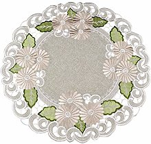 Embroidered Gold Daisy Fleur Latte Table Topper,
