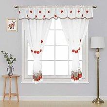 Embroidered Kitchen Window Curtain Set Rod Pocket