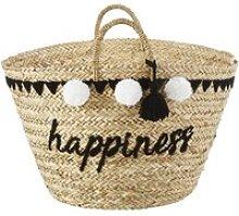 Embroidered Plant Fibre Basket with Pom Poms