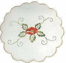Embroidered Poppy Doilies Pack of 4 Scallop Edge