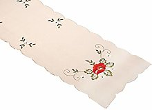 Embroidered Poppy Table Runner Dining Kitchen