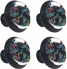 Embroidery Chinese Dragons 4 Pack Round Drawer