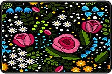 Embroidery Floral Doormat Rug Easy to Clean Non